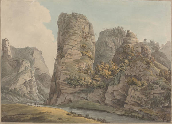Wall Art - Drawing - A Singular Rock In Dove-dale Named The Pickerell by William Day