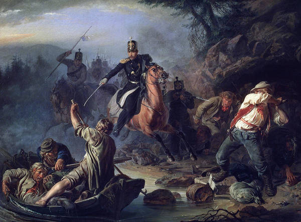 Russian River Painting - A Skirmish With Smugglers by Vasily Grigorievich Khudyakov