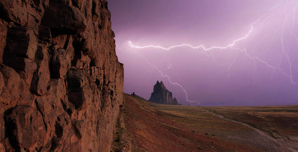Electric Peak Wall Art - Photograph - A Sky Full Of Lightning At Shiprock, New Mexico by Derrick Neill