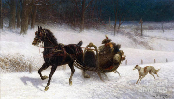 Painting - A Sleigh Ride by Celestial Images