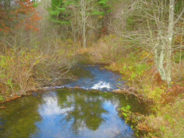 Digital Art - A Small Stream Running Through Autumn Forest. by Rusty R Smith