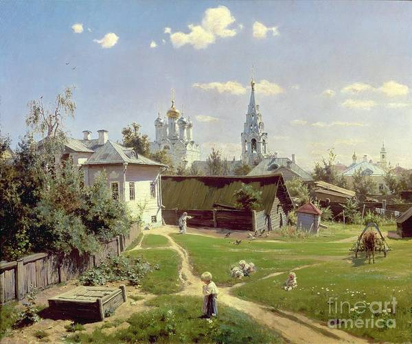 Steeple Wall Art - Painting - A Small Yard In Moscow by Vasilij Dmitrievich Polenov