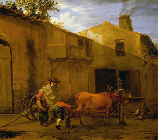 17th Century Wall Art - Painting - A Smith Shoeing An Ox by Karel Dujardin