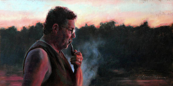 Mustache Painting - A Smoke At Dusk by Anna Rose Bain