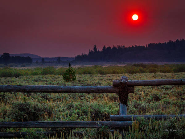 Photograph - A Smoke Filled Wyoming Sunrise by Tim Bryan