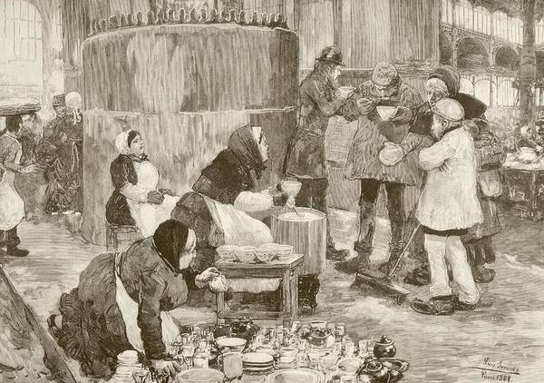 Wall Art - Drawing - A Soup Kitchen In Paris, France, In The by Vintage Design Pics
