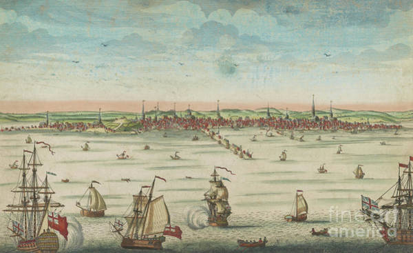 Wall Art - Painting - A South East View Of The Great Town Of Boston In New England In America, 1730 by John Carwitham