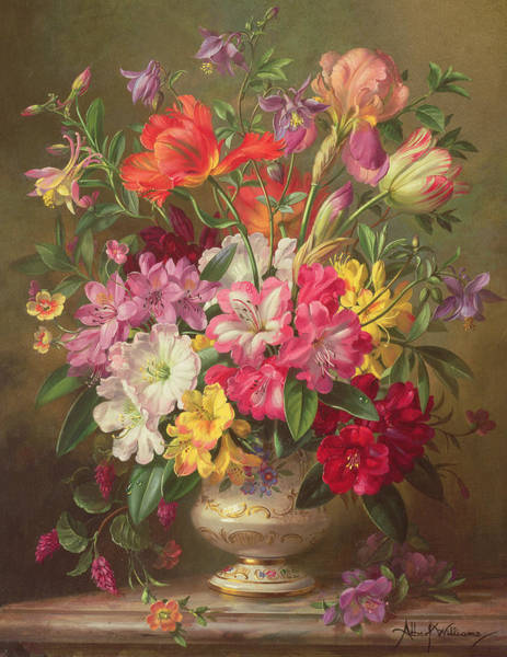 Wall Art - Painting - A Spring Floral Arrangement by Albert Williams