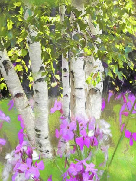 Digital Art - A Stand Of White Birch And Pink Wildflowers. by Rusty R Smith