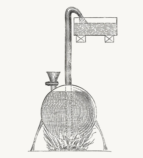 Pump Drawing - A Steam Apparatus Invented By Salomon by Vintage Design Pics