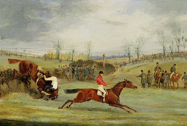 People Watching Painting - A Steeplechase - Another Hedge by Henry Thomas Alken