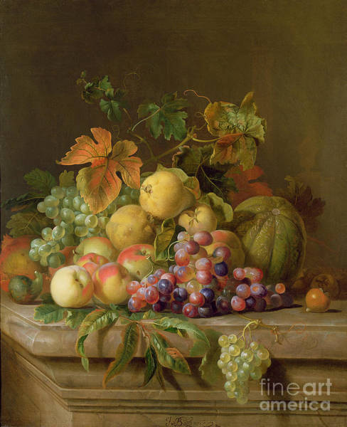 Life Wall Art - Painting - A Still Life Of Melons Grapes And Peaches On A Ledge by Jakob Bogdani