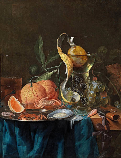 Wall Art - Painting - A Still Life Of Oranges, Grapes, A Rummer Of Wine, A Kometenglas Of Ale, A Crab And An Oyster  by Pieter de Ring