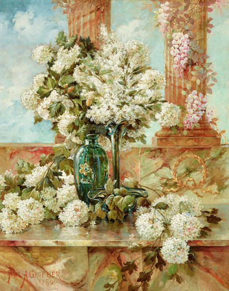 Wall Art - Painting - A Still Life With Hydrangeas And Lilacs On A Marble Ledge by Paul Groeber