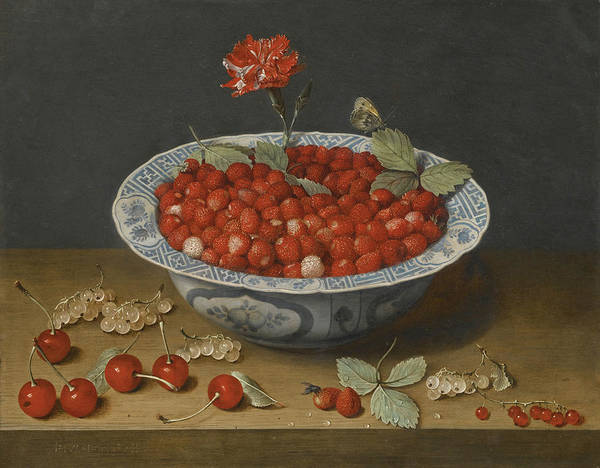 Wall Art - Painting - A Still Life With Wild Strawberries And A Carnation by Jacob van Hulsdonck