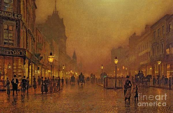Carriages Painting - A Street At Night by John Atkinson Grimshaw