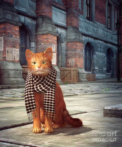 Digital Art - A Street Cat In London by Jutta Maria Pusl