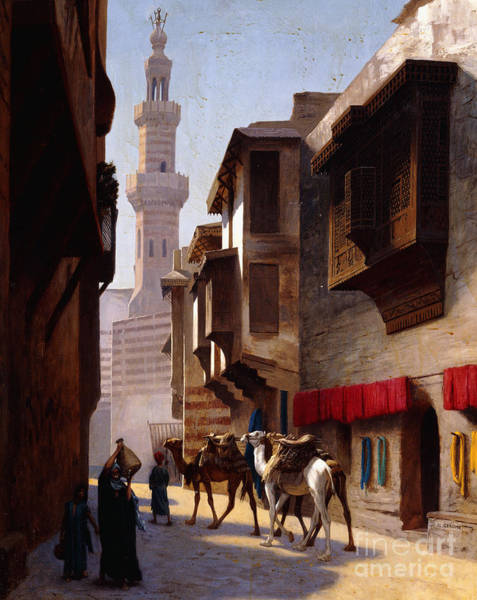 City Scene Painting - A Street In Cairo by Jean Leon Gerome