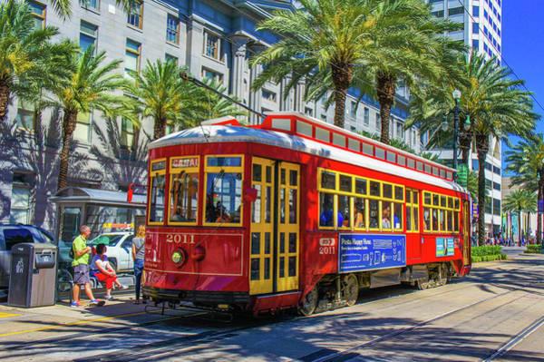 Trolley Car Wall Art - Photograph - A Streetcar On Canal Street, New Orleans, Louisiana  by Art Spectrum