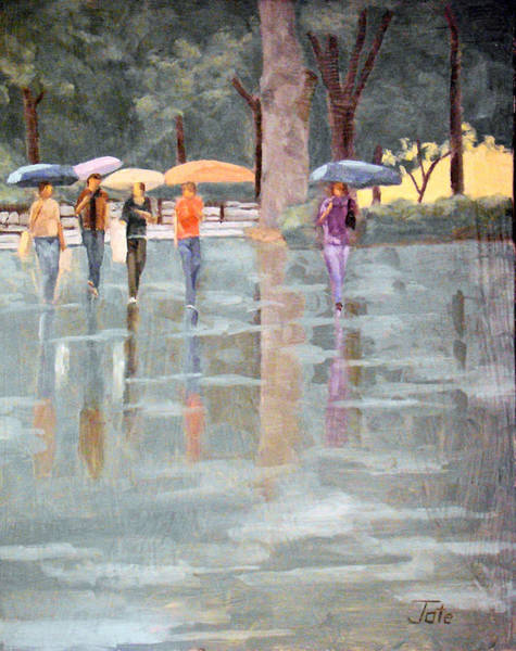 Wall Art - Painting - A Stroll In The Rain by Tate Hamilton