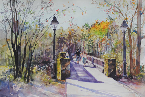 Painting - A Stroll On The Bridge by P Anthony Visco