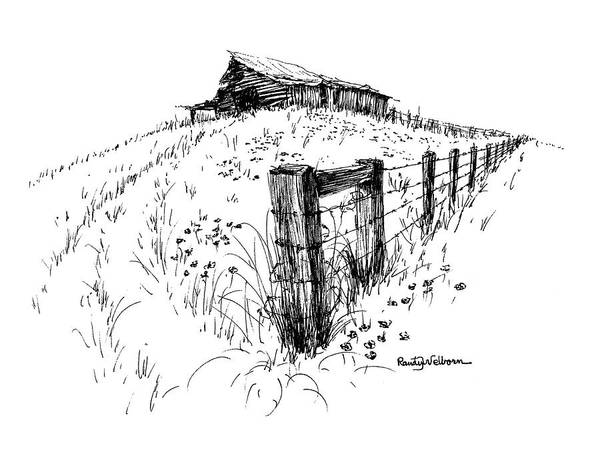 Barn Drawing - A Strong Fence And Weak Barn by Randy Welborn