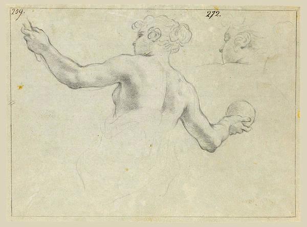 Allegorical Figure Drawing - A Study For A Female Allegorical Figure And A Separate Study For Her Head by Antonio Domenico Gabbiani
