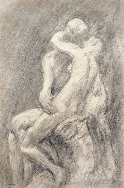 Male Figure Drawing - A Study Of Rodin's Kiss In His Studio by Gwen John
