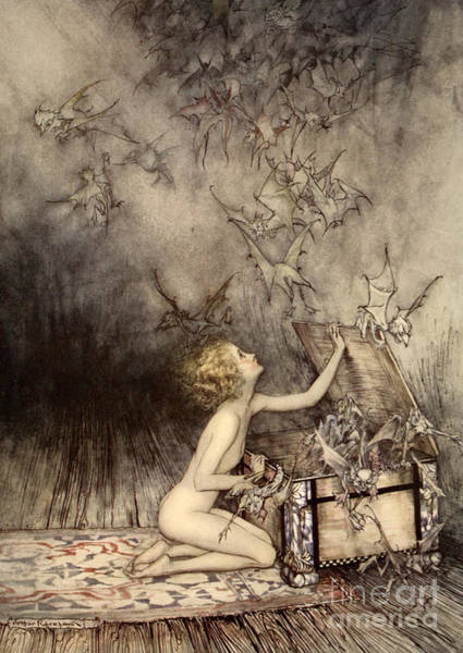 Kneeling Painting - A Sudden Swarm Of Winged Creatures Brushed Past Her by Arthur Rackham