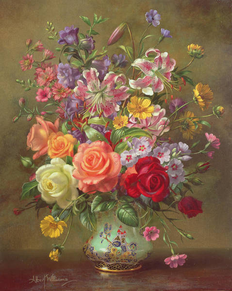 Ceramics Wall Art - Painting - A Summer Floral Arrangement by Albert Williams