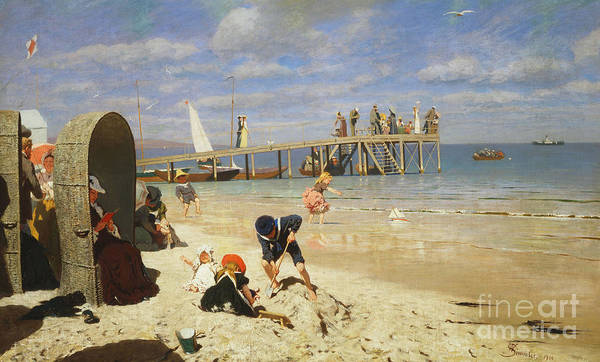 Sand Castle Painting - A Sunny Day At The Beach by Wilhelm Simmler
