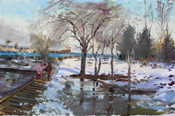 Lake Shore Wall Art - Painting - A Sunny Freezing Day by Ylli Haruni