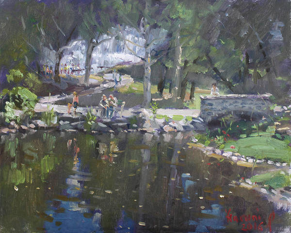 Sunday Painting - A Sunny Sunday In Williamsville Park by Ylli Haruni