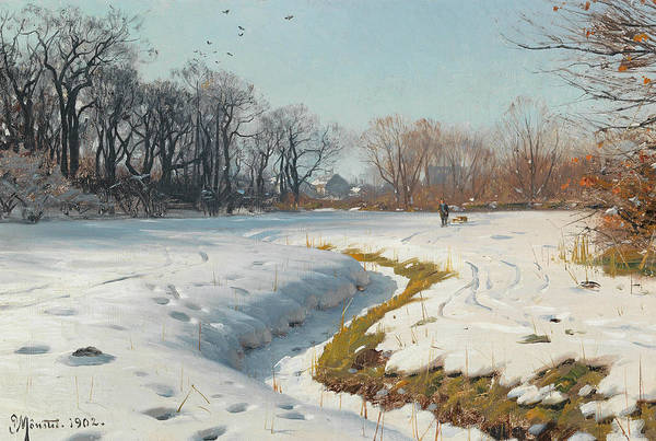 Painting - A Sunny Winter Day by Peder Monsted