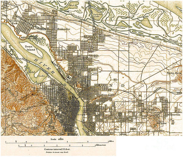 Painting - A Surveyors Map Of Portland by Celestial Images