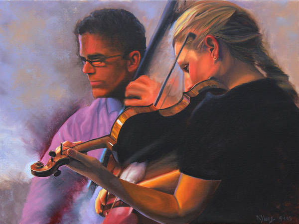 Violin Wall Art - Painting - A Tale Of Two Musicians by Kenneth Young