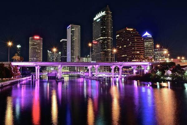 Townscape Wall Art - Photograph - A Tampa Night by Frozen in Time Fine Art Photography