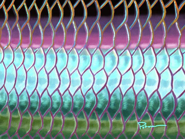 Cyan Digital Art - A Tarpons Reflection by Kevin Putman