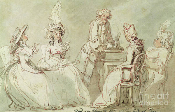 Wall Art - Drawing - A Tea Party by Thomas Rowlandson