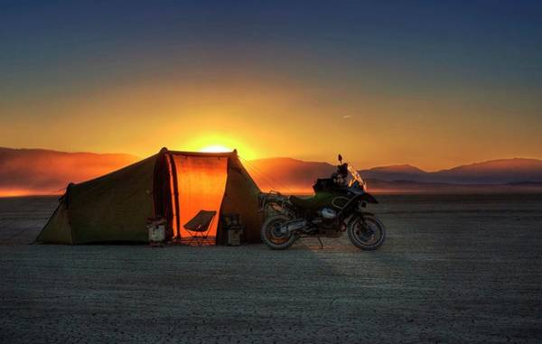 Photograph - A Tent, A Motorcycle, And A Sunset On The Playa by Quality HDR Photography