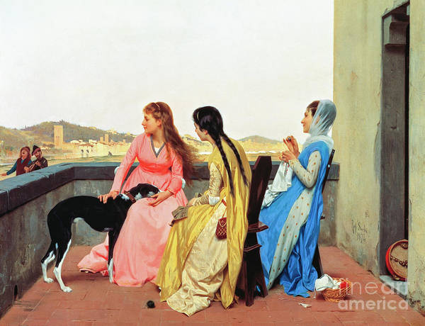 Embroidery Painting - A Terrace On The Arno River by Raffaello Sorbi