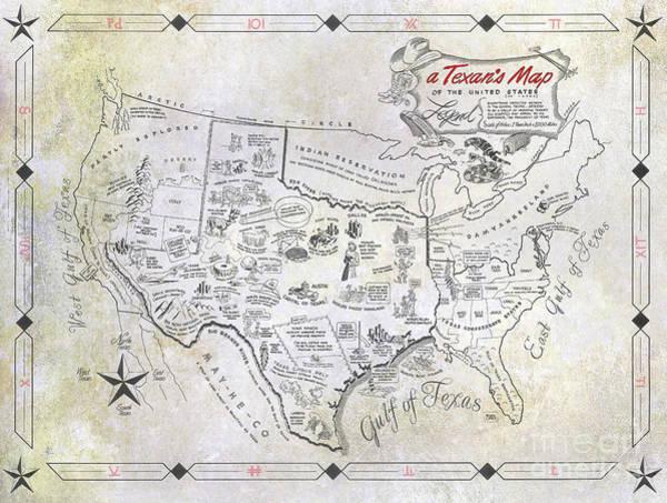 A Texan's Map Art Print