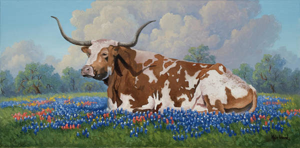 Longhorn Painting - A Texas Welcome by Kyle Wood