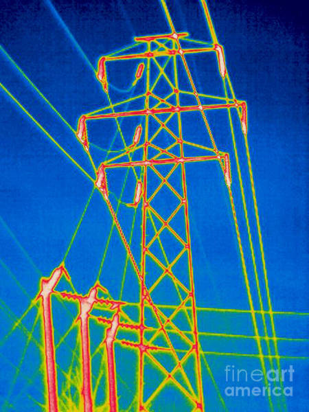 Infrared Radiation Photograph - A Thermogram Of High Voltage Power Lines by Ted Kinsman
