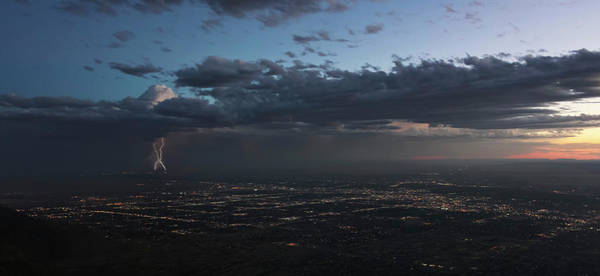 Wall Art - Photograph - A Thunderstorm At Dusk Over Albuquerque, New Mexico by Derrick Neill