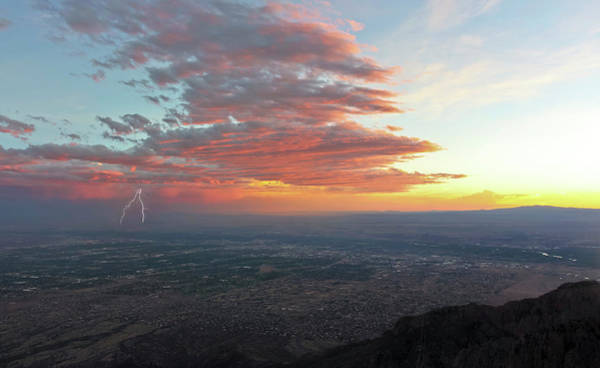 Aerial Tramway Wall Art - Photograph - A Thunderstorm At Sunset Over Albuquerque, New Mexico by Derrick Neill
