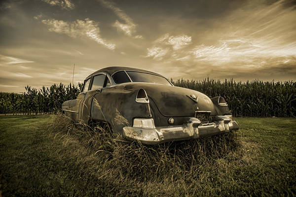 Photograph - A Tinted Photo Of Rusty Caddy By A Cornfield  by Sven Brogren