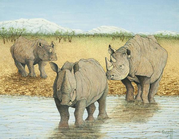 Rhino Painting - A Tough Life by Pat Scott