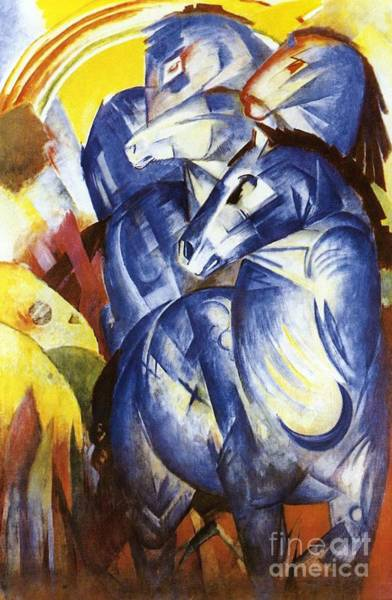 Semi Abstract Painting - A Tower Of Blue Horses by Franz Marc