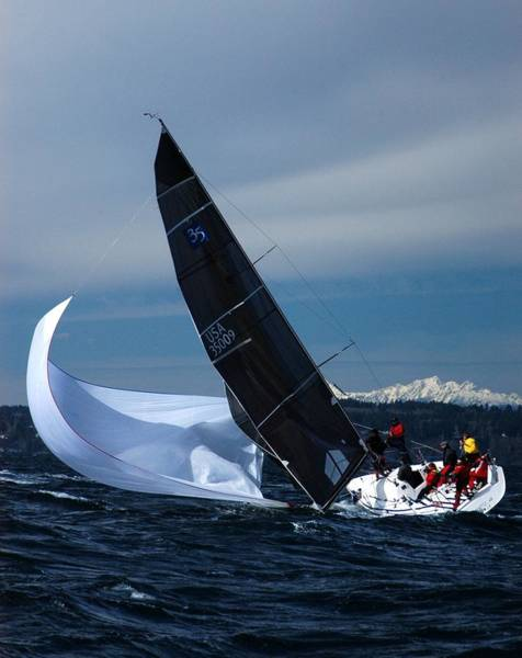 Racing Yacht Photograph - A Troublesome Spinnaker by Owen Ashurst